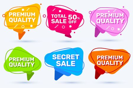 Vector set of trendy graphic colorful sale badge with different text on white color background. Flat style speech bubble design with shadow for web, site, banner, advertising, sticker, price tag