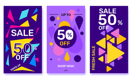 Vector set of modern template story with bright shape elements on dark theme background. Social media abstract design with text for web, site, sale banner, mobile app, poster Illustration
