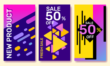 Vector set of fashion template story with bright abstract elements on color background. Social media design with text for web, site, sale banner, mobile app, poster