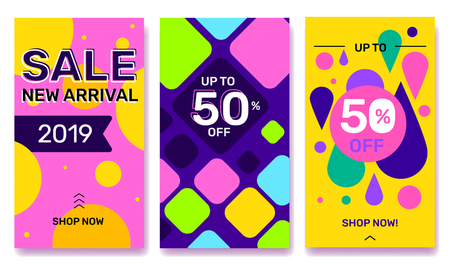 Vector set of summer seasonal template story with bright abstract elements on color background. Social media design with text for web, site, sale banner, mobile app, poster