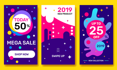Vector set of night theme template story with bright abstract elements on dark color background. Social media design with text for web, site, sale banner, mobile app, poster