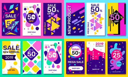 Vector big bundle of fashion template story with bright abstract elements on color background. Social media design with text for web, site, sale banner, mobile app, poster