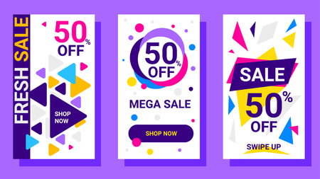 Vector set of modern template story with bright triangle and circle elements, text on white background. Social media abstract design for web, site, sale banner, mobile app, poster