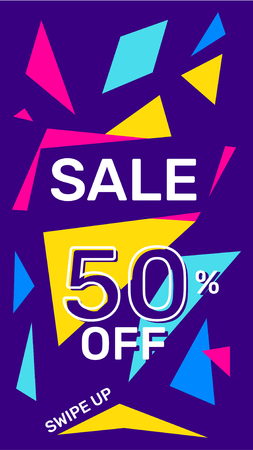 Vector modern template story sale banner with bright abstract elements, text on dark background. Social media design for web, site, banner, mobile app, poster