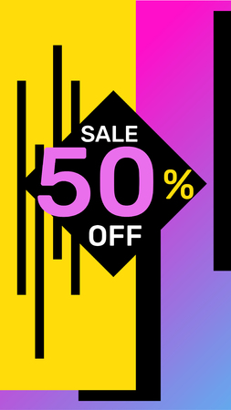 Vector modern template story on bright color background. Fashion sale banner with shape and text. Social media design for web, site, banner, mobile app, poster