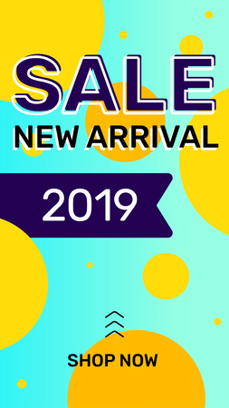 Vector summer season modern template story on bright color background. Fashion sale banner with shape and text. Social media design for web, site, banner, mobile app, poster Ilustração
