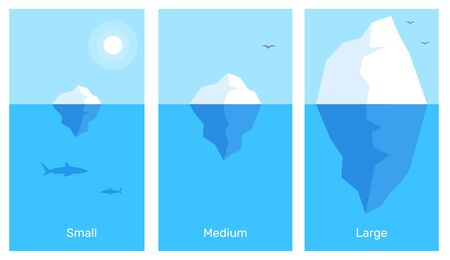 Vector zakelijke infographics element sjabloon. Creatieve illustratie van 3 verschillende grootte ijsberg in blauw water. Ontwerp in vlakke stijl voor web, site, banner, poster, presentatie