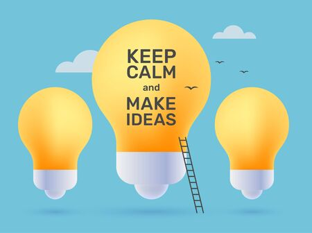 Vector creative illustration of yellow light bulb with ladder and text. Business successful career concept. Flat style design for web, site, banner, poster, presentation