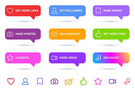 Vector big set of notification on white color background with shadow and icon. Stylish socila media design of speech bubble with different message for app interface