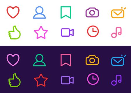 Vector set of bright socila media icon. Line art style design on color background for web, site, banner, app interface, network