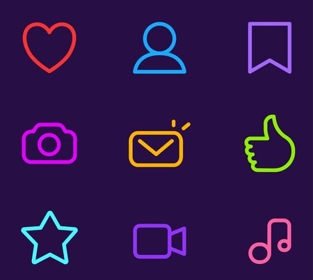 Vector set of neon color icon on black background. Line art style socila media design for app interface, web, site, banner, network
