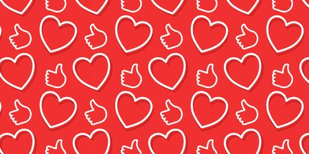 Vector creative seamless pattern with approve reactions on red color background. Line art style socila media design with heart and thumb up for web, site, banner, card