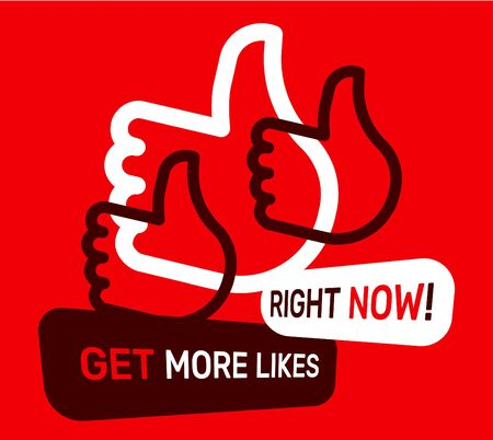 Vector creative illustration with thumb up on red color background with text. Line art style socila media design with empathetic emoji reaction for web, site, banner, card