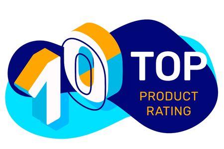 Kreative Vektorgrafik der Top-Ten mit abstrakter Form und Text. Isometrische Typografie der Nummer 10 auf weißem Farbhintergrund. Design im 3D-Stil für Web, Site, Banner, Präsentation