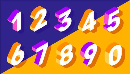 Vector creative set of isometric number typography on bright color background. 3d style design for web, site, banner, greeting card, presentation Banco de Imagens - 127565861