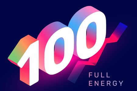 Vector isometric number 100 typography on dark color background. Creative illustration of gradient one hundred with text. 3d style decorative design for web, site, banner, presentation
