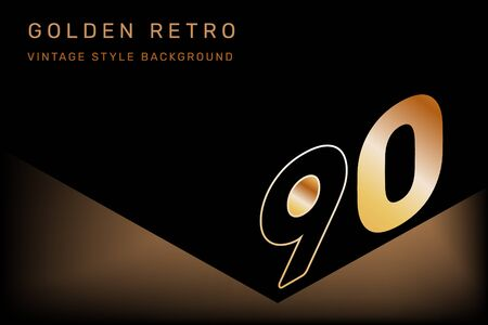 Vector isometric number 90 typography on dark color background. Creative illustration of shiny golden nineties. 3d retro style decorative design of 90s for web, site, banner, presentation