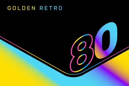 Vector isometric gradient number 80 typography on black color background. Creative illustration of eighties. 3d retro style decorative design of 80s for web, site, banner, presentation