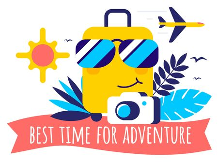 Vector tropical summer travel illustration with character suitcase in sunglass, air plane, photo camera and text on white color background. Flat cartoon style bright creative design for web, site, banner, poster, travel agency advertising