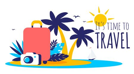 Vector tropical summer travel illustration with suitcase on island in the sea, palm tree, photo camera and text on white color background. Flat style bright creative design for web, site, banner, poster, travel agency advertising