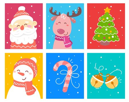 Vector set of christmas illustration of reindeer, snowman, decorated fir tree, santa claus, snowman on color background with snow. Flat style christmas design for poster, greeting card, web, site, banner, print, party