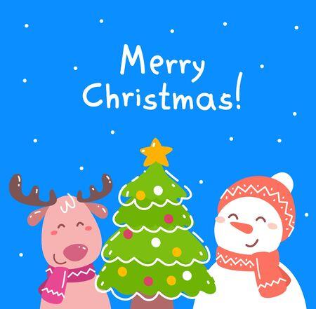 Vektorweihnachtsillustration von Rentieren und Schneemann nahe verziertem Tannenbaum auf blauem Hintergrund mit Text Frohe Weihnachten und Schnee. Flaches Design für Poster, Grußkarten, Web, Site, Banner, Print