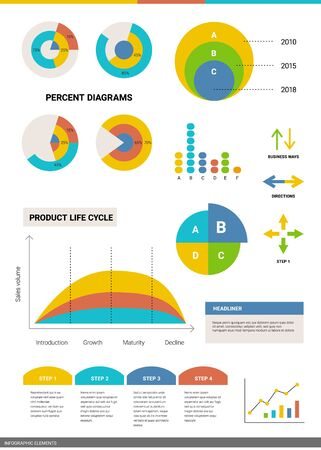 Vector set of business infographics circle element with text on white background. Graphic template of analytical and statistical data visualization. Flat style design for web, site, banner, presentation, report