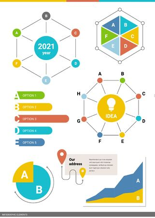 Vector set of business infographics element with light bubl. Graphic template of different type of chart on white background. Flat style design for web, site, banner, presentation, report Ilustração