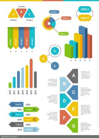 Vector set of graphic template of different type of data chart on white background. Business infographics element with text. Flat style design for web, site, banner, presentation, report