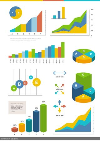 Vector set of business infographics element. Graphic template of different type of circle and bar chart on white background. Flat style design for web, site, banner, presentation, report