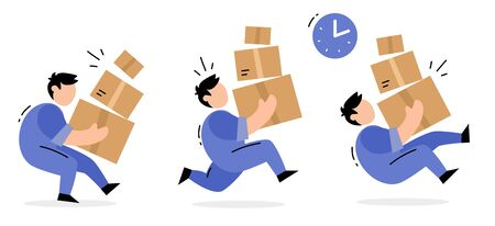 Vector set of creative illustration of running delivery man in blue color uniform carrying box in different poses on white background. Flat style design for web, site, banner, poster, advertising