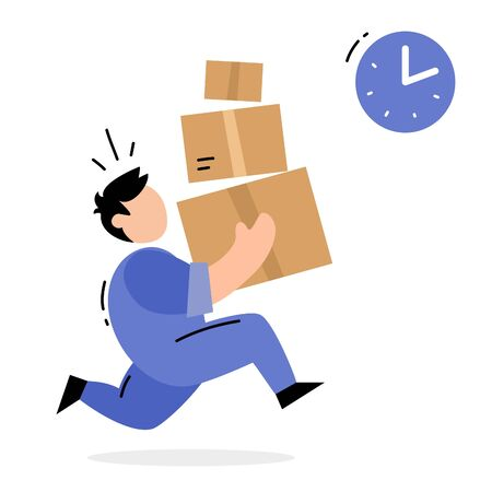 Vector creative illustration of running delivery man in blue color uniform carrying box on white background. Flat style design for web, site, banner, poster, advertising Ilustração