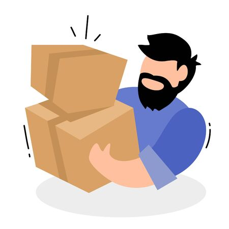 Vector creative illustration of delivery man with beard and mustache in blue color uniform holding box on white background. Flat style design for web, site, banner, poster, advertising