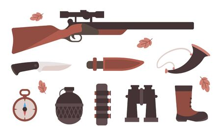 Vector illustration of set of different hunting equipment for forest wild hunting animal on white background. Flat style design for web, site, banner, poster
