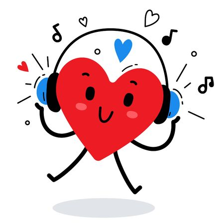 Vector illustration of happy red heart character listening to music in headphones on white background. Flat style design for Valentine's Day greeting card, web, site, banner, poster, sticker