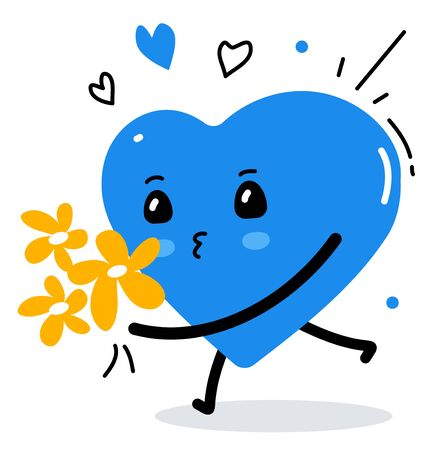 Vector illustration of blue cute heart character with flower bouquet on white background with heart. Flat style design for Valentines Day greeting card, web, site, banner, poster, sticker