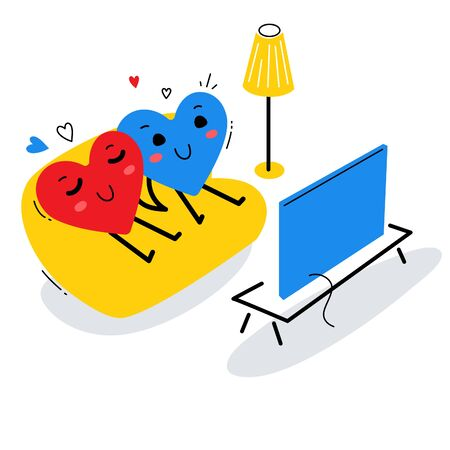 Vector illustration of red and blue happy heart sitting on sofa together and watching tv on white background. Flat style design for Valentines Day greeting card, web, site, banner, poster, sticker
