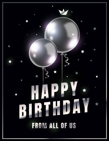 Vector happy birthday illustration with 3d realistic silver air balloon on black background with glitter confetti and text. Holiday design for greeting card, party poster, invitation, banner
