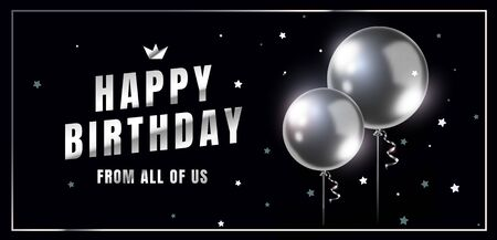 Vector horizontal happy birthday illustration with 3d realistic silver air balloon on black background with glitter confetti and text. Holiday design for greeting card, party poster, invitation, banner Illustration