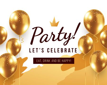 Vector illustration with 3d realistic golden air balloon on white background with paint shape and text. Holiday design with glitter confetti for greeting card, happy party poster, invitation, banner