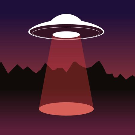Vector creative illustration of flying saucer with a spot of light on dark background. Creative design of UFO for web, site, banner, poster