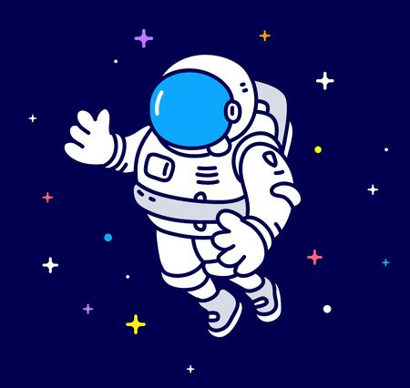 Vector creative illustration of cosmonaut in spacesuit making spacewalk. Astronaut exploring outer space on dark background with star. Flat line art style concept design of human spaceflight for the holiday cosmonautics day greeting banner Vettoriali