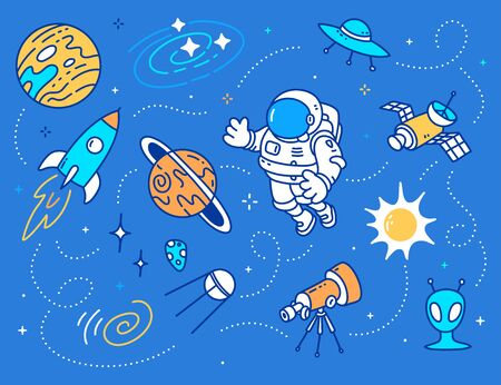 Vector creative illustration of astronaut in spacesuit and set of color space objects on blue background with star. Line art style design of spaceship, planet, sun, telescope and cosmonaut for the holiday cosmonautics day. Human spaceflight concept 向量圖像