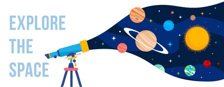 Vector creative template with illustration of telescope and planet of solar system on color background. Flat style concept design of space for holiday cosmonautics day greeting banner