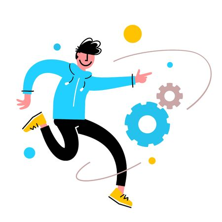 Vector creative illustration of successful jumping man on white background. Young happy male student or office worker in casual clothes. Flat cartoon style design of people for web, site, poster, banner