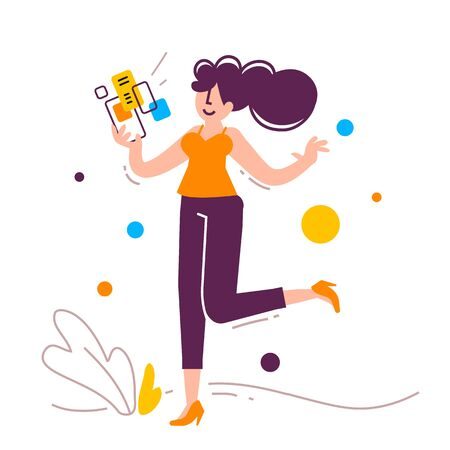 Vector creative illustration of successful jumping woman with smartphone on white background with plant. Young happy girl in casual clothes with positive emotion. Flat cartoon style design of people for web, site, poster, banner  向量圖像