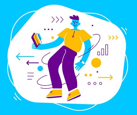 Vector creative illustration of happy guy with smartphone on color background with icon. Communication of young positive man in casual clothes in social networks. Flat cartoon style design of people for web, site, poster, banner