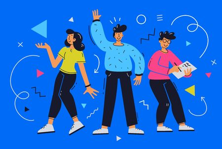 Vector bright illustration of team of creative young people on blue background. Communication of group of business man and woman character. Flat cartoon style design of greeting of teamwork people