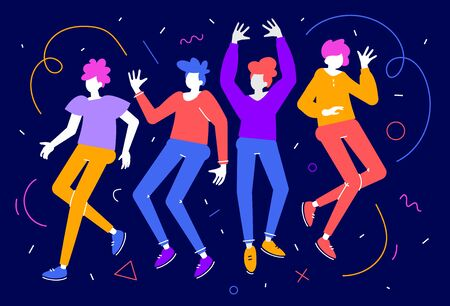 Vector illustration of group of young happy dancing man and woman on dark background. Bright color crowd of enjoying communication people. Flat cartoon style design for web banner
