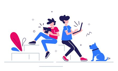 Vector creative business illustration of young man with tablet and woman with laptop with dog on white background with plant. People team place work at home office. Flat line art style design of people teamwork for web, site, poster, banner Vettoriali